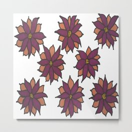 Holiday Two-Toned Flowers Metal Print