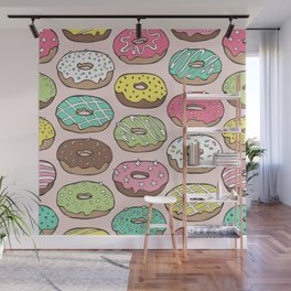 Donuts in Pink Wall Mural