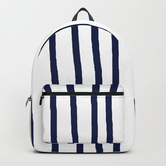 Simply Drawn Vertical Stripes Nautical Navy Blue on White Backpack