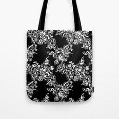 Cabbage Roses - Black Tote Bag