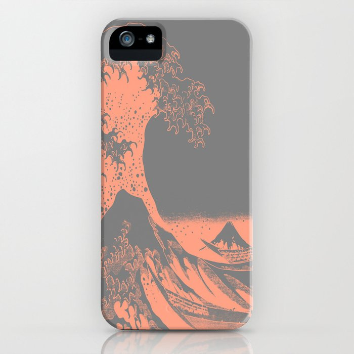 The Great Wave Peach & Gray iPhone Case