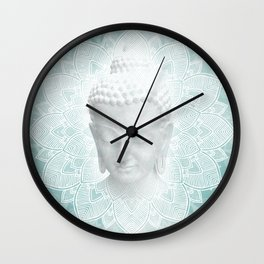 Tibetan Dream Blue White Buddha Mandala Wall Clock