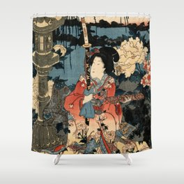 Garden of the Prosperous Blooms Triptych 1 Shower Curtain