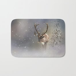 Santa Claus Reindeer in the snow Bath Mat