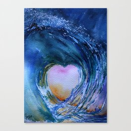 Watercolor Wave Heart Canvas Print