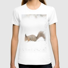 Little squirrel sitting in the snow #decor #society6 #buyart T-shirt