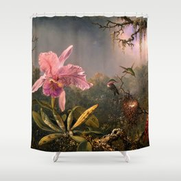 Cattleya Orchid and Three Brazilian Hummingbirds by Martin Johnson Heade. Shower Curtain