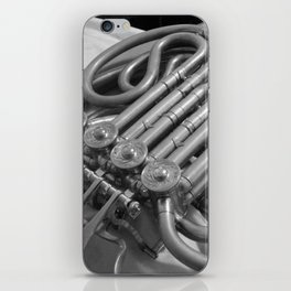 french horn in monochrome iPhone Skin