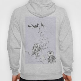 Two Tailed Duck and Jellyfish Lavender Hoody