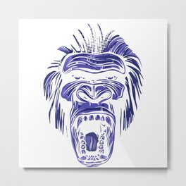 GORILLA KING KONG - Blue Metal Print