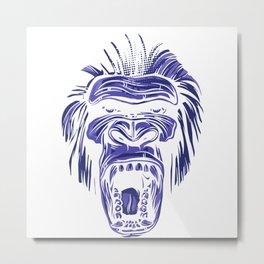 GORILLA KING KONG - Blue Metal Print