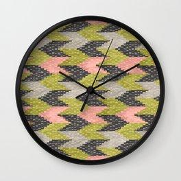 Kilim Weaving Structure Green & Blush Wall Clock