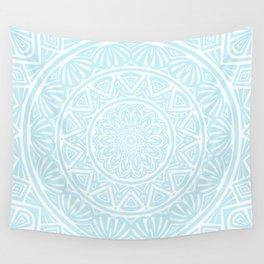 Light Sky Blue Aqua Simple Simplistic Mandala Design Ethnic Tribal Pattern Wall Tapestry