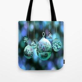 Christmas Bulbs in Blue Tote Bag