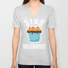 Funny Stud Muffin Mechanic Husband graphic Unisex V-Neck