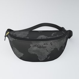 "Black and gray watercolor world map ""Coal mine"" Fanny Pack"