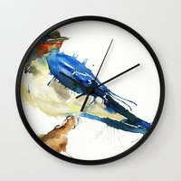 swallow Wall Clocks featuring Swallow by Meg Ashford