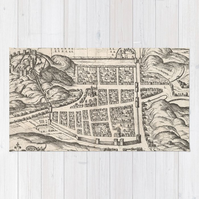 Vintage Map of Edinburgh Scotland (1581) Rug