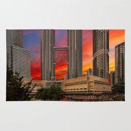 Petronas Towers Sunset Rug