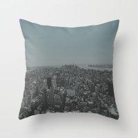 manhattan Throw Pillows featuring Manhattan by Leah Flores