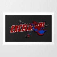 eeyore Art Prints featuring EXCELS-EEYORE! by JVZ Designs