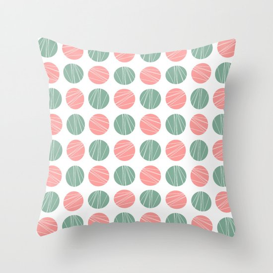 Pink Blue Doodle Polka Dots Pattern Throw Pillow