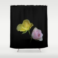 flowers on black - yellow and pink rosebud for curtains and homeproducts Shower Curtain