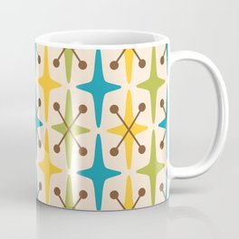 Mid Century Modern Abstract Star Pattern 441 Yellow Brown Turquoise Chartreuse Coffee Mug