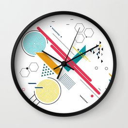 Colorful geometric shapes composition Wall Clock