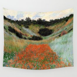 Poppy Field in a Hollow near Giverny by Claude Monet Wall Tapestry