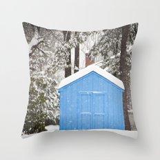 Blue Snow House  Throw Pillow