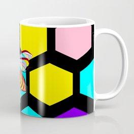 A Black Honeycomb and Bee, Multi-color Natural Coffee Mug
