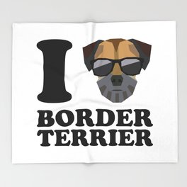 I Love Border Terrier modern v1 Throw Blanket