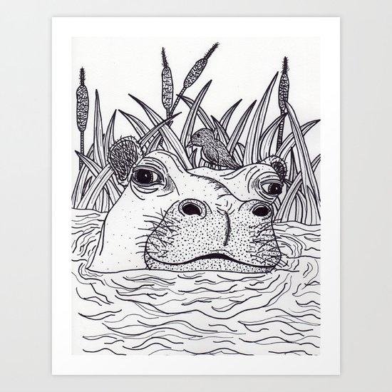 Black and White Hippo by dakotalouma