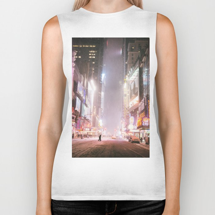 New York City Colorful Snowy Night in Times Square Biker Tank