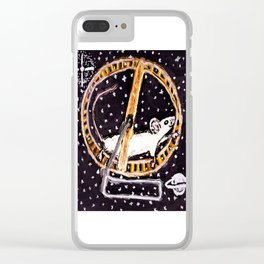 white mouse riding through outer space galaxy Clear iPhone Case