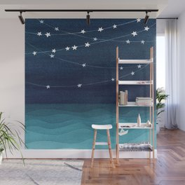 Garlands of stars, watercolor teal ocean Wall Mural