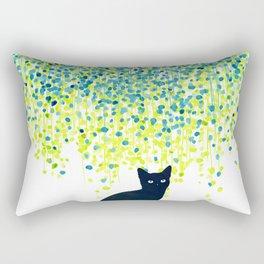 Cat in the garden under willow tree Rectangular Pillow