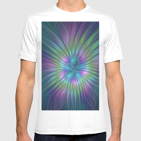 Colorful and luminous Fantasy Flower, Abstract Fractal Art T-shirt
