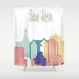San Jose colorful skyline design Shower Curtain