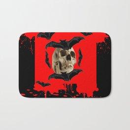 BAT INFESTED HAUNTED SKULL ON BLEEDING RED ON RED  ART Bath Mat