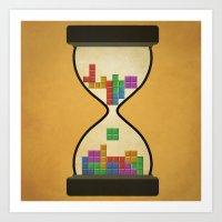 tetris Art Prints featuring tetris by gazonula