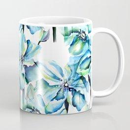 Watercolor Himalayan Blue Poppy in Aqua Pattern Coffee Mug