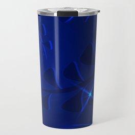 Marine pattern underwater plant elements dark blue glowing ethnic style. Travel Mug