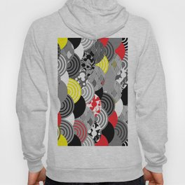 Nature background with japanese sakura flower, Cherry, wave circle Black gray white Red Yellow Hoody