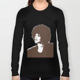 Angela Davis - Black Background Long Sleeve T-shirt