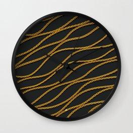 Wave Gold Chain Black Wall Clock