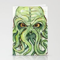 cthulhu Stationery Cards featuring Cthulhu by Olechka