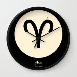Aries Symbol Black Wall Clock