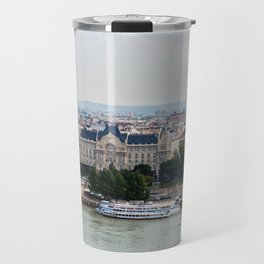 Aerial view of Chain Bridge and St. Stephen's Basilica - Budapest Travel Mug